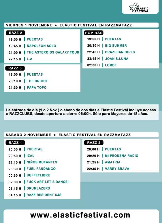 Horarios Elastic Festival 2013