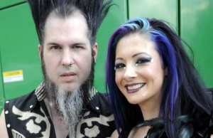 AUSTIN, TX - NOVEMBER 3: Wayne Static of Static X and Guest pose at the Fun Fun Fun Festival at Auditorium Shores on November 3, 2012 in Austin, Texas. (Photo by Tim Mosenfelder/Getty Images)