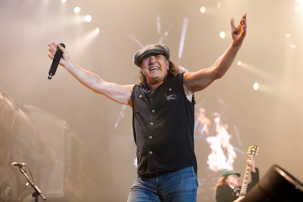 Brian Johnson of AC/DC performs at ANZ Stadium in Sydney, 18/2/10