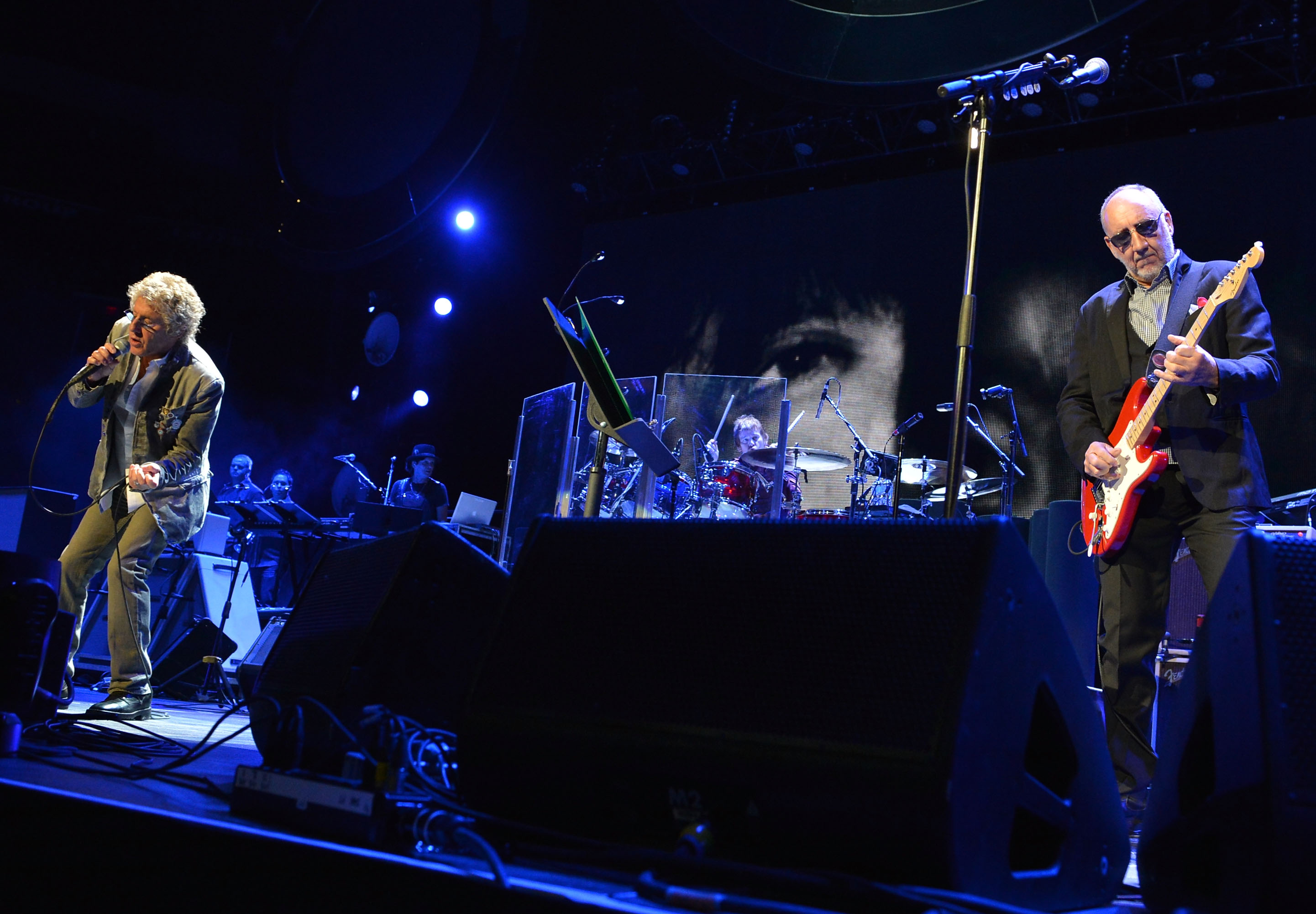 "SUNRISE, FL - NOVEMBER 01:  The Who's Rogar Daltrey and Pete Townshend perform during The Who ""Quadrophenia And More"" World Tour Opening Night at BB&T Center on November 1, 2012 in Sunrise, Florida.  (Photo by Rick Diamond/Getty Images for The Who) *** Local Caption *** Rogar Daltrey; Pete Townshend"