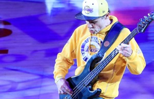 LOS ANGELES, CA - APRIL 13:  Musician Flea performs the national anthem before the Los Angeles Lakers take on the Utah Jazz at Staples Center on April 13, 2016 in Los Angeles, California. NOTE TO USER: User expressly acknowledges and agrees that, by downloading and or using this photograph, User is consenting to the terms and conditions of the Getty Images License Agreement.  (Photo by Sean M. Haffey/Getty Images)