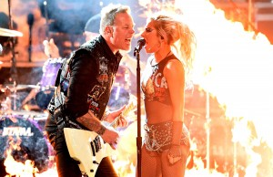 LOS ANGELES, CA - FEBRUARY 12:  Recording artists James Hetfield (L) of music group Metallica and Lady Gaga perform onstage during The 59th GRAMMY Awards at STAPLES Center on February 12, 2017 in Los Angeles, California.  (Photo by Kevin Winter/Getty Images for NARAS)
